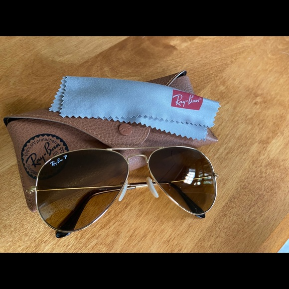 Polarized Ray Bans gold lens with gold frame